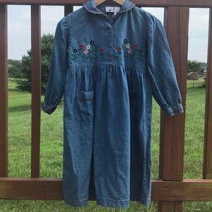 Hartstrings Vintage Embroidered Denim Dress